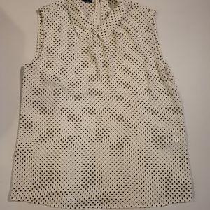 Oodji white/black dots sleeveless  size med